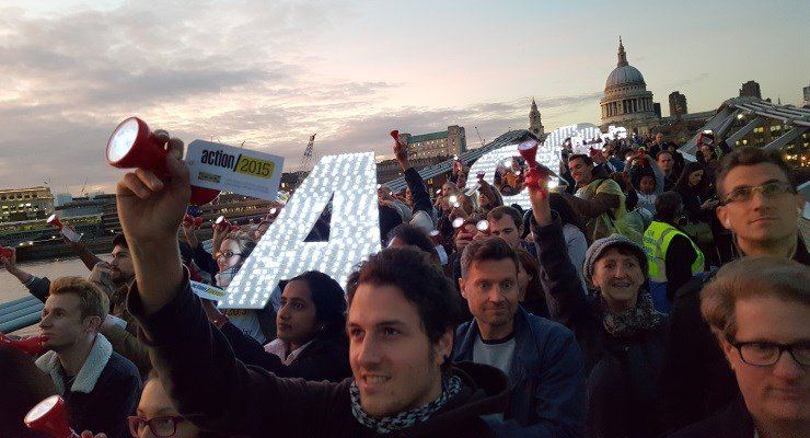 Light the Way supporters on the Millennium Bridge