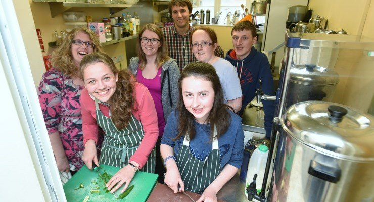 Young people from Stamford, Lincolnshire, at their pop-up café.