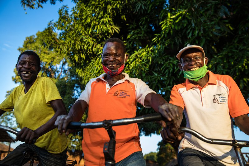 Leprosy Changemakers with their bicycles