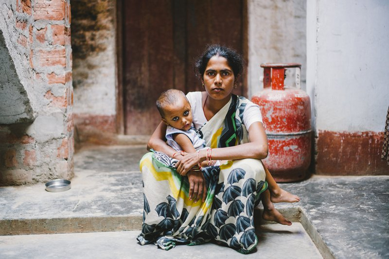 Geeta, a woman affected by leprosy from India